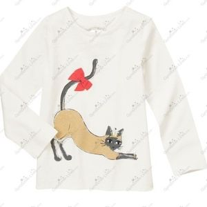 Gymboree white shirt with embroidered cat